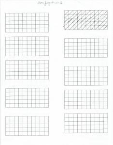 squares printed four times on one sheet of paper