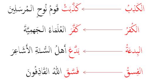 sentences example fa''ala annisbah